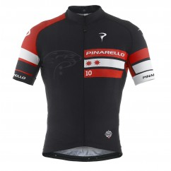 Pinarello fietsshirt scatto tre bande red/black